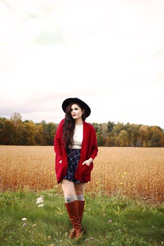 noelles favorite things blogger cardigan skirt hat socks shoes