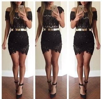 dress golden belt heels black heels long legs short dress thight dress lace dress black dress mini dress