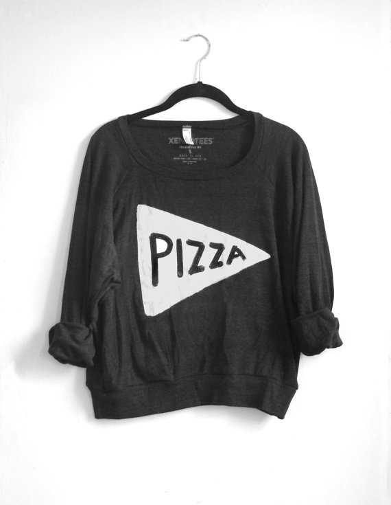 Women's sweater, slouchy pizza sweatshirt : black pullover, pizza clothing, typography, typographic. made in the usa