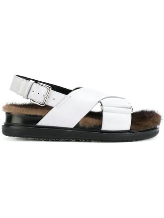fur women sandals leather grey shoes