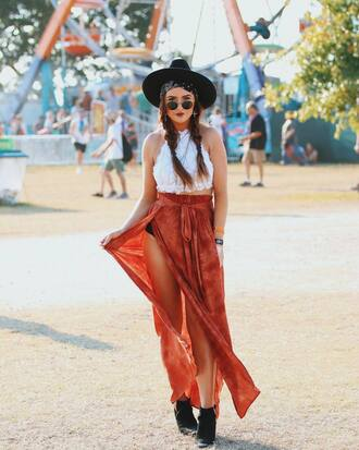 top skirt sunglasses hat tumblr crop tops halter top halter neck boots black boots ankle boots maxi skirt long skirt sun hat