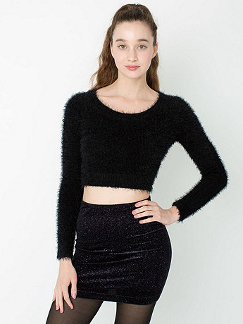 Fuzzy Cropped Sweater | American Apparel