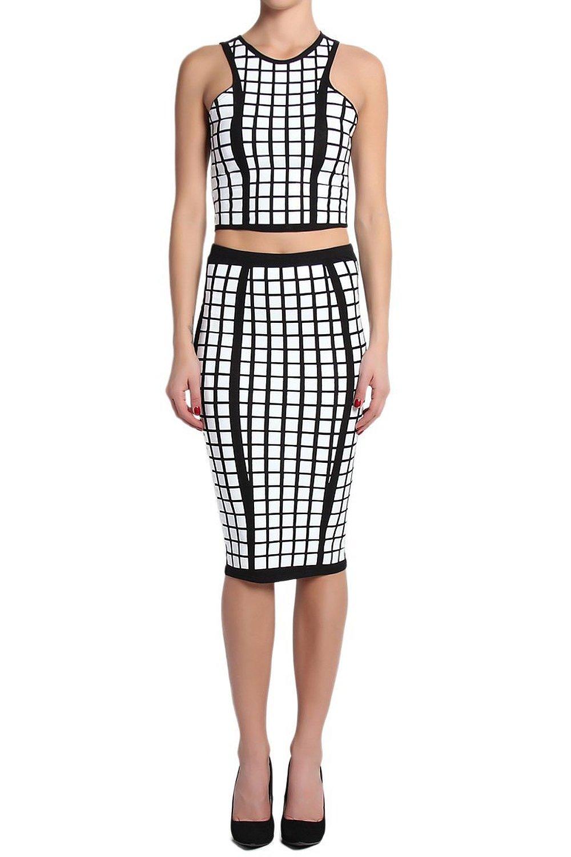 TheMogan Women's Black & White Crop Top & Midi Skirt SET at Amazon Women's Clothing store: