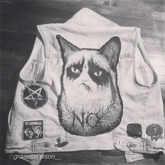 jacket grumpy cat vest punk