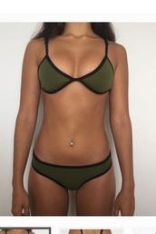 swimwear,khaki,bikini,olive green