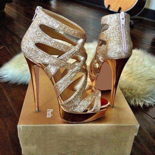 Shoes: gold, heels, high, high heels, shiny, gold sequins - Wheretoget