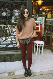 pants,sweater,shirt,shoes,blouse,sunglasses,hipster,hipster wishlist,burgundy,creepers,sweatshirt,red pants,plaid shirt,tartan,flannel shirt,clothes