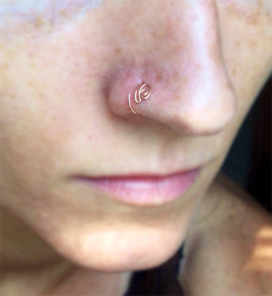 Paisley Double Loop Nose Ring Thin Nose Ring Gold Nose Ring Rose