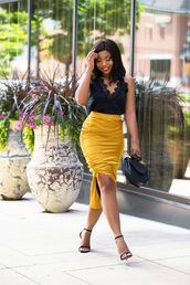jadore-fashion,blogger,skirt,tank top,shoes,bag,make-up,sunglasses,gold skirt,black top,sandals,yellow skirt,pencil skirt,blogger style,handbag