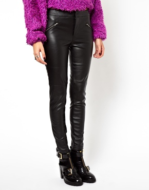 ASOS Petite | ASOS PETITE Exclusive Leather Look Pants With Zip Detail at ASOS