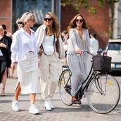 skirt,midi skirt,side split,sneakers,slide shoes,crossbody bag,white shirt,maxi dress,sunglasses,bike