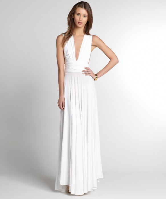 Butter by Nadia white jersey 'Ball Gown' wrap dress | BLUEFLY up to 70% off designer brands