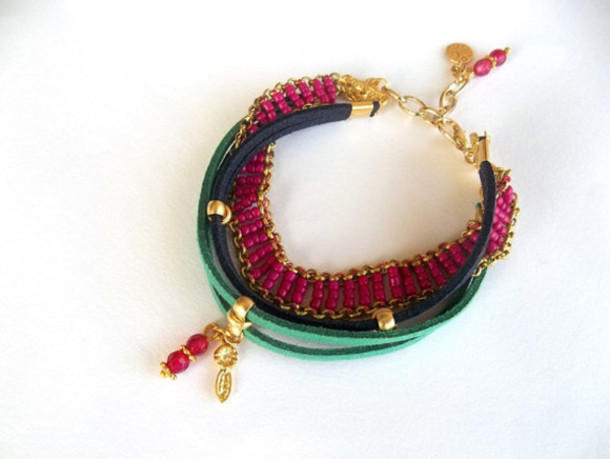 jewels bracelets handmade chain bracelet fuschia women valentines day gift idea gift ideas multi strand leather bracelet multi strand bracelet colorful