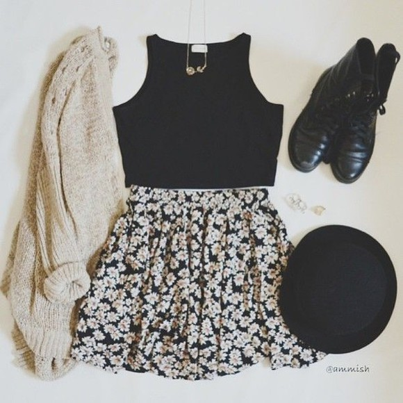 skirt floral skirt girly sweater knit floral black sun flowers combat boots hipster look outfit idea cute vinatge tank top hat