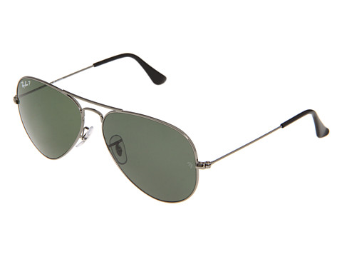 Ray-Ban 3025 Aviator Polarized 58mm  Gunmetal/Natural Green Polarized - Zappos.com Free Shipping BOTH Ways