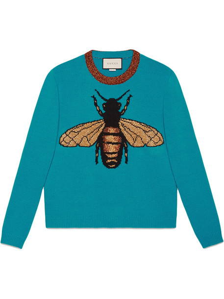 gucci sweater women bee blue wool knit
