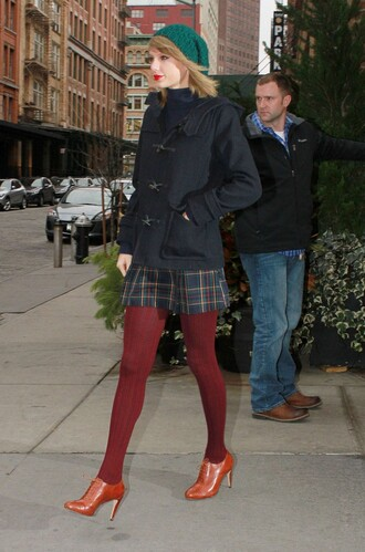 taylor swift fall outfits turtleneck duffle coat plaid skirt shoes jacket top skirt leggings