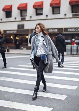 tsangtastic blogger jacket belt black jeans black boots grey sweater winter outfits