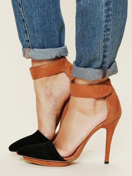 shoes high heel sandals black heels brown