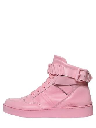 high sneakers high top sneakers leather pink shoes