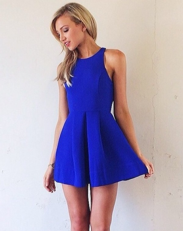 dress blue dress flowy dress royal blue dress jeans royal blue short dress mini dress high neck dress