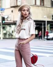 t-shirt,pants,tumblr,gucci,logo,logo tee,white t-shirt,red pants,stripes,striped pants,bag,red bag,hat,beret,long hair,platinum hair,gucci t-shirt