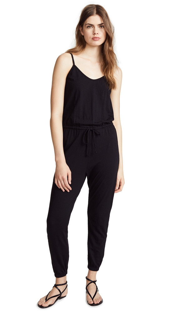 SUNDRY Drawstring Jumpsuit in black