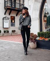 sweater,grey jumper,black skinny jeans,black bag,black hat