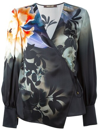 blouse floral print black top