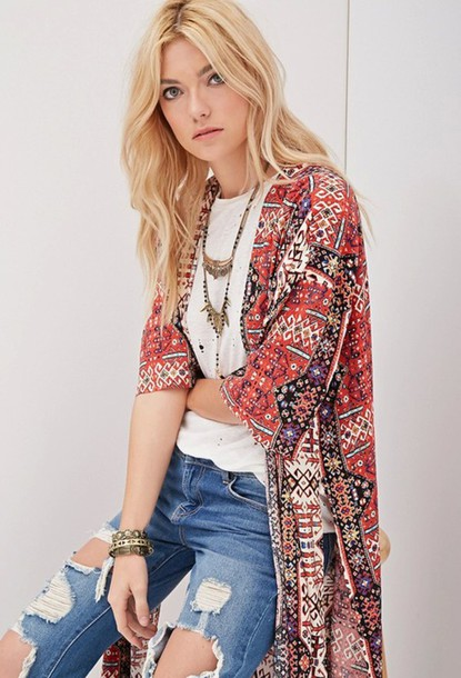 cardigan statement necklace jeans bracelets red white brown blue oriental oriental print