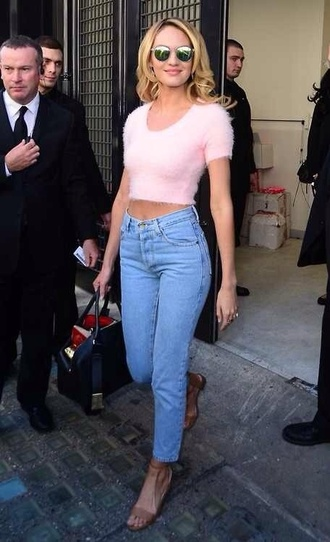 blouse pink furry blouse blonde hair jeans sunglasses candice swanepoel