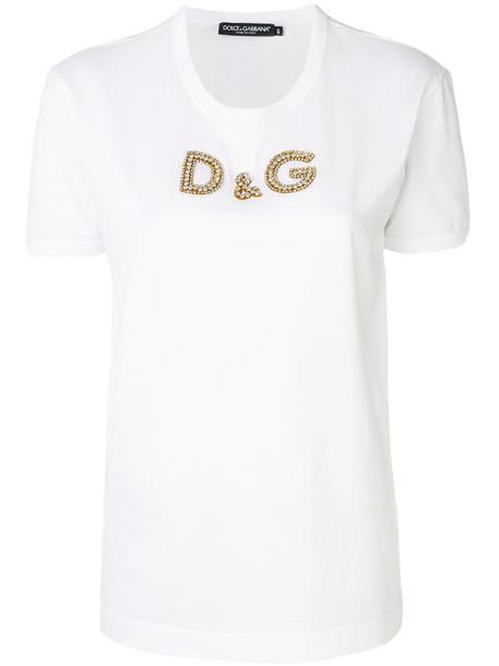 Dolce & Gabbana t-shirt shirt t-shirt women embellished white cotton top