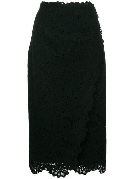 skirt women lace black silk wool