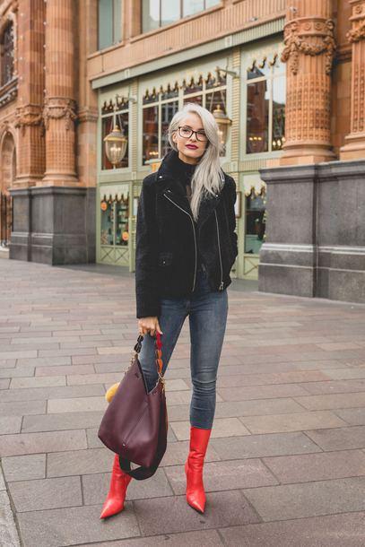 shoes tumblr boots red boots denim jeans blue jeans jacket black jacket bag sunglasses burgundy bag