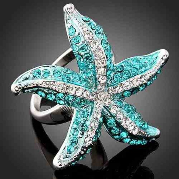 jewels starfish starfish ring jewelry teal beach