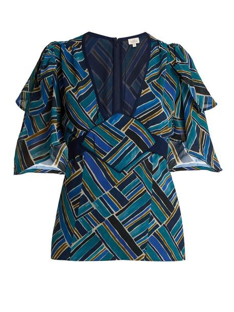 Talitha top print silk blue