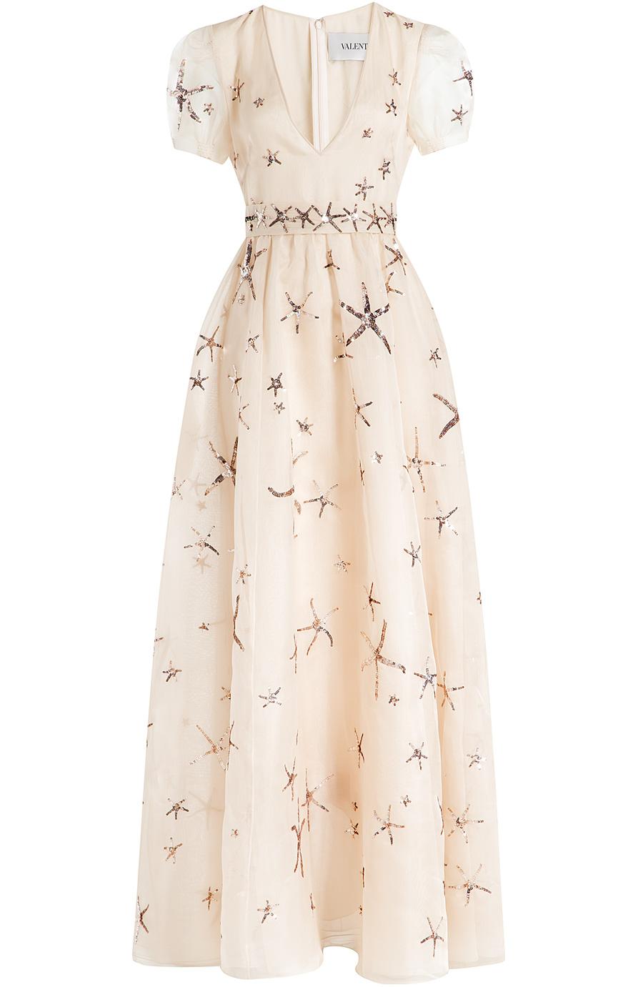 valentino embellished silk organza dress