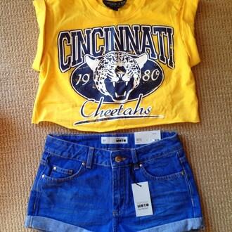 tank top shirt yellow moto shorts blue t-shirt