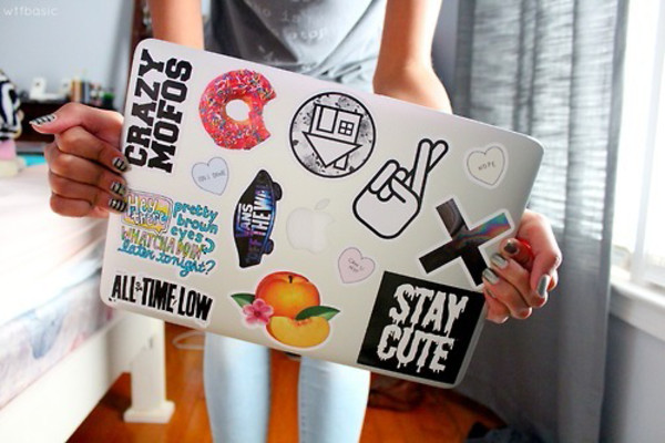 shirt stickers vans donut apple macbook air all time low heart quote on it