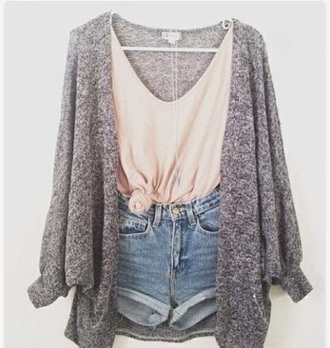 cardigan shorts t-shirt outfit
