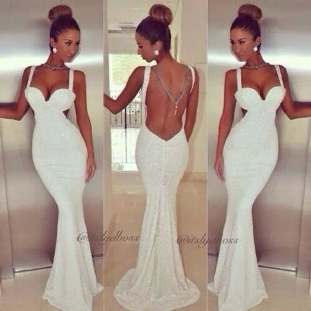 Low cut back out white dress