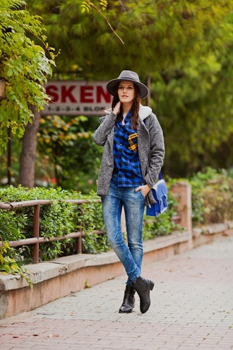 the bow-tie blogger coat shirt hat grey coat acid wash satchel bag blue chelsea boots jeans bag shoes