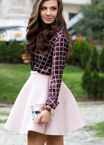 blouse shirt purple purple shirt baby pink skirt fashion amazing beautiful trendy pink skirt shoes dress checkered skater skirt graphic shirt heels burgundy skit pink colorful cute chic checkered blouse button up short