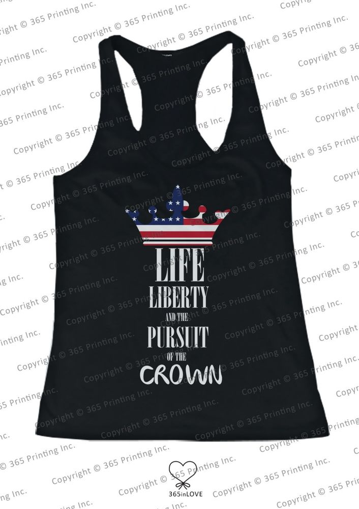 Red White and Blue Life Liberty and The Pursuit of The Crown Women's Tank Tops | eBay