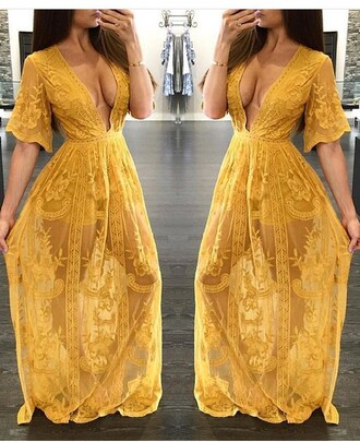 dress yellow lace maxi dress plunge v neck