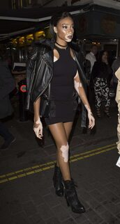 dress,bodycon dress,biker jacket,winnie harlow,model off-duty,all black everything,ankle boots,london fashion week 2016,streetstyle