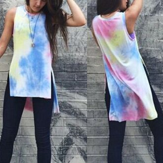 top tie dye long top long tank top sleeveless pastel boho casual dress www.sammydress.com