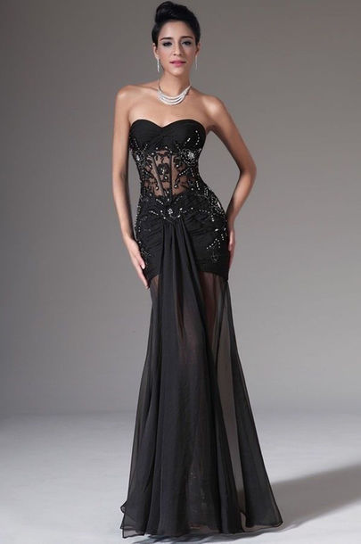 Dress: black, sheer, sheath, prom dress, gloves, hair accessory ...