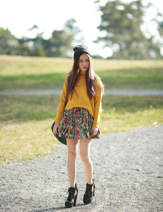 chloe ting blogger mustard knitted sweater aztec flare skirt cut out ankle boots fall outfits mustard sweater