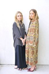 blouse,blue shirt,mary kate olsen,ashley olsen,boho,hippie,olsen sisters,boho chic,oversized shirt,long skirt,navy skirt,long coat,light coat,kimono
